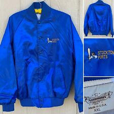 Vintage Stockton Ports Satin Jacket Embroidered Made In USA XXL (baseball)