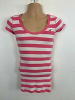 WOMENS HOLLISTER SHORT SLEEVE ROUND NECK PINK/WHITE STRIPED T SHIRT SIZE S SMALL