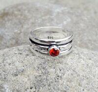 Garnet Stone Solid 925 Sterling Silver Meditation Ring Spinner Ring sr602