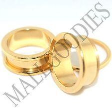 """1495 Screw on/fit Steel Anodized Gold Tunnels Earlets Ear Plugs 5/8"""" Inch 16mm"""