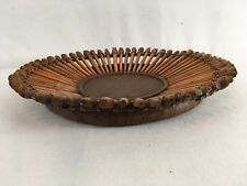 "Vintage Handmade 14"" Bamboo Round Spoke Wood Asian Home Décor Basket"