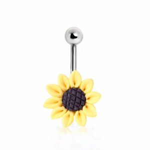 316L Surgical Steel Sunflower Navel Ring (Default Title, Yellow/Black)