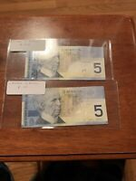 CANADA 5 DOLLARS 2002/2001 P 101 Vf 101A Unc Price For Both Notrs