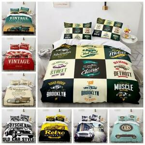 Bedding Set Vintage Cars Enthusiast Quilt Duvet Cover Single Double King Size UK