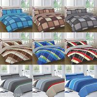Check Striped Duvet Cover Set Pillow Cases Size King Single Double Super Bedding