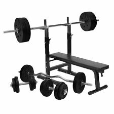 Gorilla Sports Weight Bench with 100KG Vinyl Weight Set