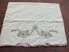 Collectible Pillowcase Hand Embroidery Crochet Trim Lavender Gold 30 x 21 Nice