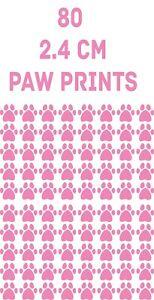 80 x  PINK Paw Print Dog Cat Decal Vinyl Stickers 2.4 cm  Car Glass Craft Art