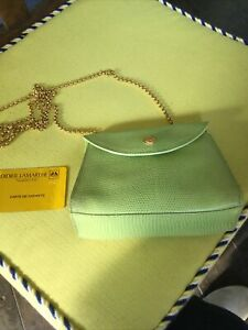 DIDIER LAMARTHE SMALL GREEN LEATHER CROSSBODY BAG CHAIN MADE FRANCE