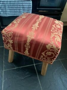 """FOOTSTOOL WOOD AND FOAM RED GOLD MATERIAL COVER 16"""" H X 16"""" W PROJECT 🌺"""