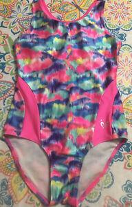 Justice Sz 10 Pink Blue Purple Gymnastics Tank Leotard Dance Vguc