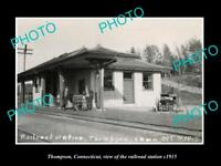 OLD LARGE HISTORIC PHOTO THOMPSON CONNECTICUT THE RAILROAD STATION c1915