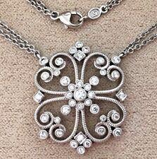 Designer LESLIE GREENE 18K White Gold and Diamond Pendant Necklace ~Ret $5000