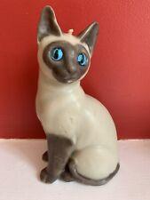 "Vintage Siamese Oriental Cat Kitten Wax Figurine Candle Statue 7"""