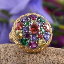 Simulated Opal,Amethyst,Citrine,Tanzanite,Ruby Ring in ION Plated Platinum Bond