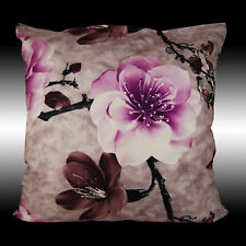 PURPLE PEACHBLOSSOM BOTH SIDES SOFT VELVET THROW PILLOW CASE CUSHION COVER 17.5""