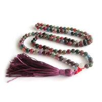 Multi-Color Agate Gem Tibet Buddhist 108 Prayer Beads Mala Necklace