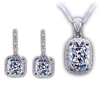 Sterling Silver Plated Simulated Diamond Jewellery Set Pendant Necklace Earrings