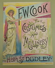 More details for antique hand-coloured f.w. cook dudley costumes millinery poster/proof 19th cent