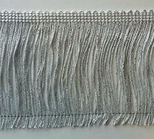 """4"""" Metallic Chainette Fringe Col. White Silver - Put-up: 5 Continuous Yards"""