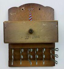"Vintage Wooden Tie Rack & Cuff Links Drawer 6"" x 8"" Wall Mount Holds 18 Neckties"
