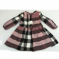 Girls Burberry Pink/Black Striped Dress Size: 4 Years Old