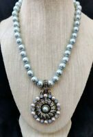 "Heidi Daus ""Relaxed and Refined"" Beaded Crystal Drop Necklace (Light Blue) NWT"