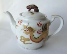 Vintage Chinese Golden Dragon Teapot with Dragon's Head on the Lid Hand-painted
