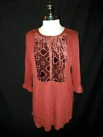 NEW LUCKY BRAND Plus Size 1X Shirt Top Red Velvet Burnout 3/4 Sleeve