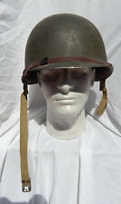 WW2 US Army USMC Soldiers M-1 Helmet complete with Liner, Chin Straps, Nap Strap