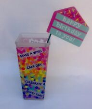 Happy Birthday Glass Vase Planter Gift Box Confetti Colorful Polka Dots Flag