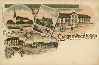 Ansichtskarte Langenweddingen um 1900 Zweiggeschäft Bahnhof Post Kirche (Nr.838)