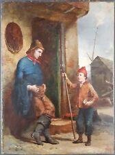 """Ancien Tableau """"Le Jeune Pêcheur"""" Peinture Huile Antique Oil Painting"""