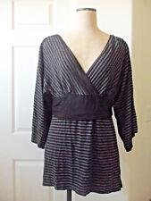 Max Studio Black Grey Brown Stripe Rayon Blend Deep V-Neck Kimono Sleeve Top  XL