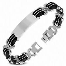Bracelet for Men Steel and Rubber Black Link in X