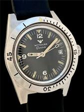 AWESOME BIG 38mm WITTNAUER Geneve STAINLESS STEEL DIVE Vintage WATCH Model 4000