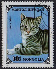 MONGOLIA 1979 CAT Fauna Animal Silver Tabby 10 Used STAMP