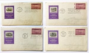 VINTAGE STAMPS: 4 Scott# 858 3 cent :  2x FDC + 2 Close : WA/MT/ND/SD Join Union