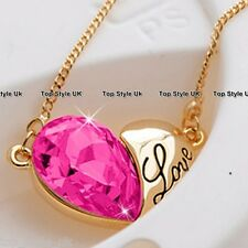 Gold & Rose Quartz Pink Heart Necklace Engraved with word Love Valentine Gift