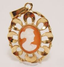 100% Genuine Antique Vintage 9k Solid Yellow Gold Cameo Pendant