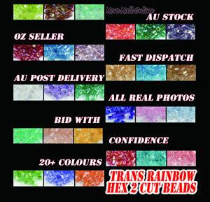 VaR AB Rainbow Hex Bugle VIVI Seed Beads Jewelry Craft DIY Sew Dance Dress MGB