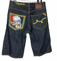LRG Roots Equipment Mens 34 Denim Shorts Embroidery Native American Chief Rocker