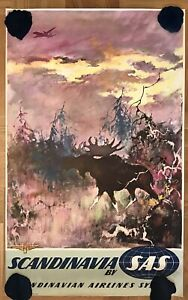 OLD POSTER SCANDINAVIA BY SAS- OTTO NIELSEN -ADVERTISING FLIGHTS AIRLINES 1950's