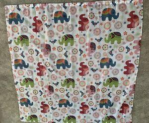 Elephant print shower curtain with elephant hooks