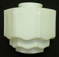 Vtg Old White Milk Glass Art Deco Tiered Lamp Shade Skyscraper Ceiling Light
