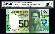 Scotland 50 Pounds 2015 LOW Serial 000037 P-NEW GEM UNC PMG 66 EPQ