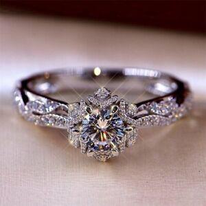Halo 2.40Ct Round Cut White Gold Finish Diamond Engagement Ring Women Size I-T