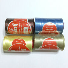 Natesh Rayon Embroidery Thread Lot of 4 Spools Blue Grey Brown Yellow