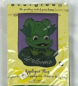 EVERGREEN APPLIQUE GARDEN FLAG - FROG - WELCOME TO MY PAD - 28X44 inches