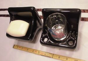Glossy Black Sink Set…Ceramic Soap Dish...Cup & Toothbrush holder   New Stock